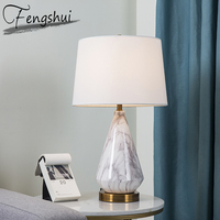 Modern Ceramics Table Lamp Home Decor Table Light Bedroom Bedside Study Hotel Living Room Hotel Design Fabric Desk Lamp Shade