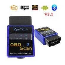 Vgate OBD2 tarayıcı ELM327 Bluetooth adaptörü V2.1 Obd 2 araba otomatik teşhis arayüz tarayıcı ELM 327 Obdii teşhis araçları