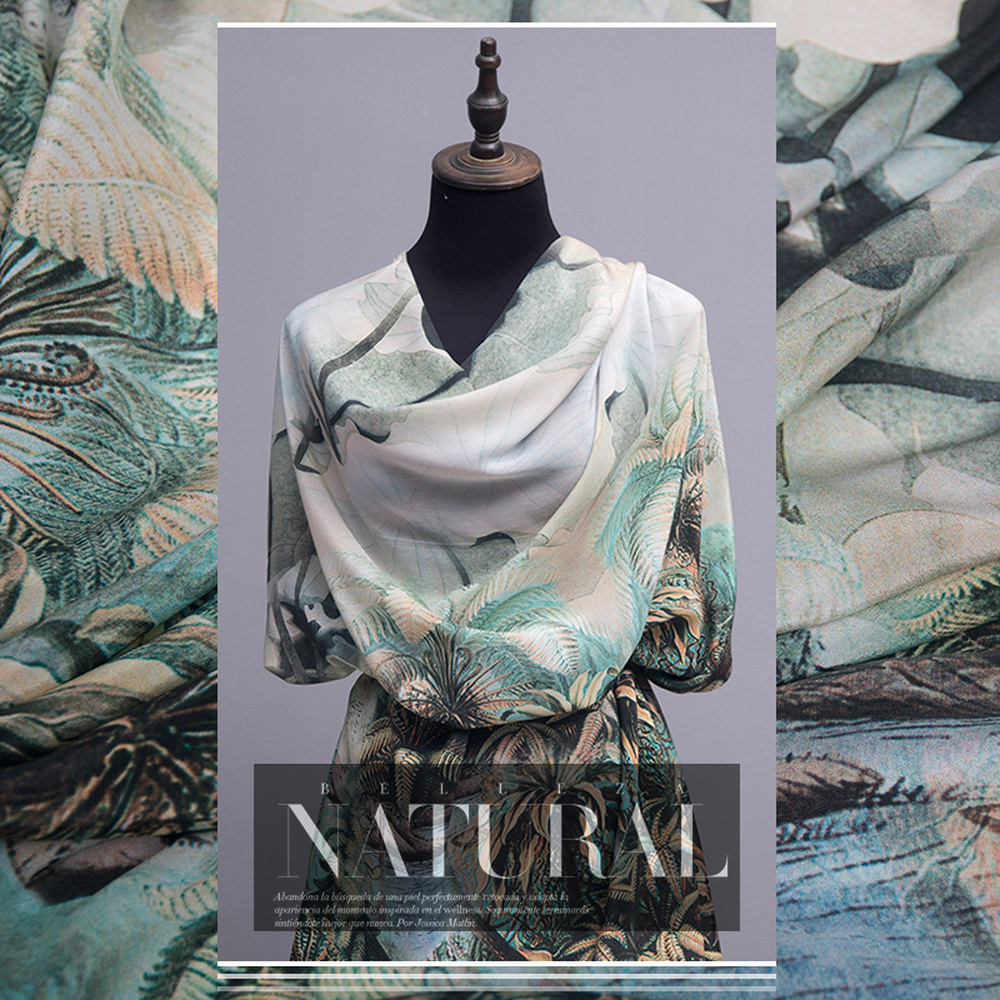 50cm Heat Island Style Unilateral Positioning Flower Silk Crepe De Chine Fabric Digital Printing DIY Dress  Plant Floral Pattern