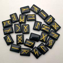 Moda runestone obsydianowe runy wróżbiarstwo spadł kamienie 25 sztuk naturalne runy Viking Amulet zestaw kryształy terapeutyczne Reiki tanie tanio YWMZCN Brak 25pcrns Półszlachetnych kamieni TRENDY Religijne Charms