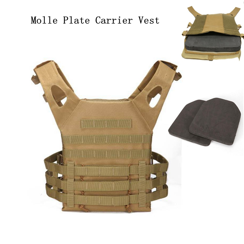 New Airsoft Tactical JPC Vest with 2pcs Protective EVA Pad Military SAPI Shock Plate Carrier Dummy Foam Hunting Armor Body Vest