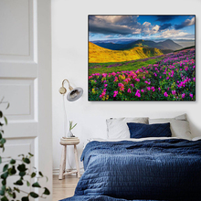 Laeacco Canvas Painting Calligraphy Spring Flowers Green Trees Grass Mountain Poster Wall Pictures For Home Living Room Decor