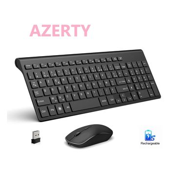 French keyboard wireless mouse and keyboard combination.2.4G.Rechargeable AZERTY keyboard, ergonomic, suitable for PC/laptop/TV 1