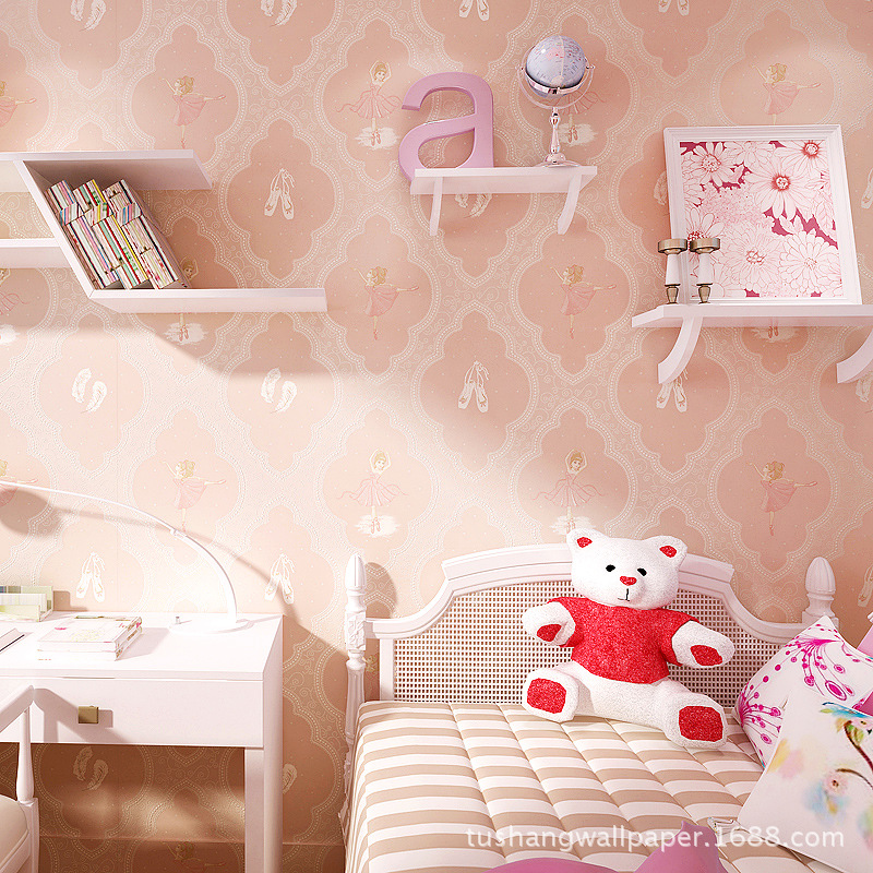 Tu Shang Warm Cartoon Fun Princess CHILDREN'S Room Environmentally Friendly Non-woven Wallpaper Bedroom Library Fiber Wallpaper