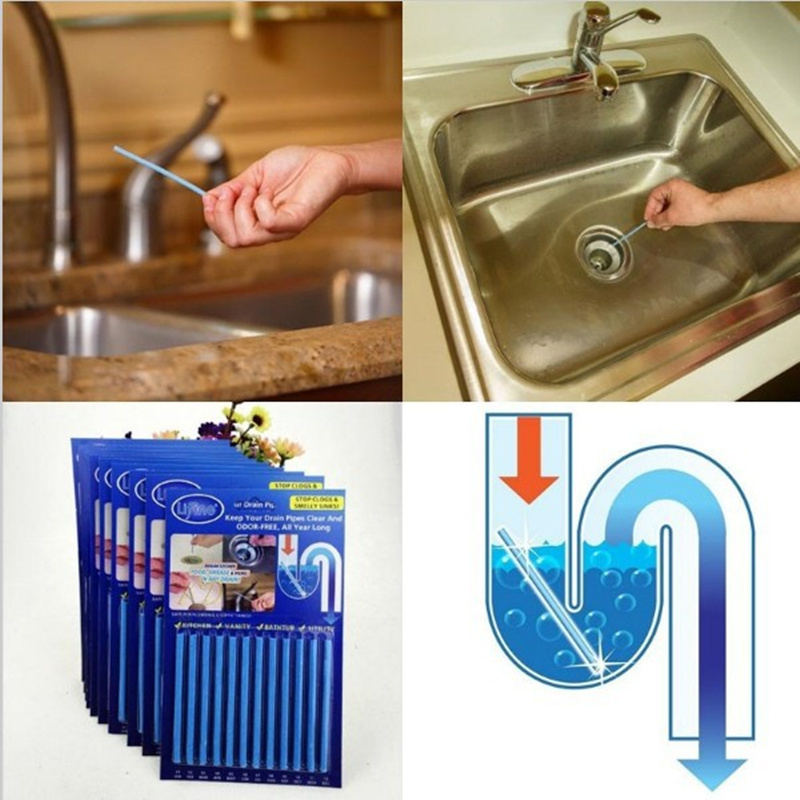 New 12pcs Powerful sink drain cleaner Rods Sani Sticks Oil Decontamination deodorizer for Toilet Kitchen Cleaning sink filt Pipe