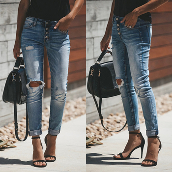 цена на New Pleated Skinny Jeans For Women Knee Holes Destroyed Denim Pant Casual Pencil Trousers  Stretch Button Fly Ripped Mom Jeans