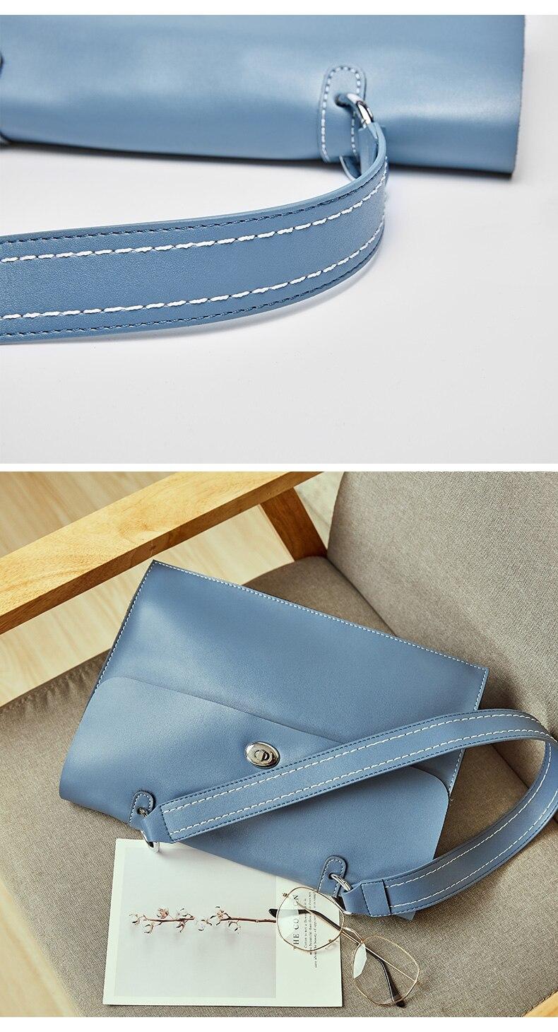 ombro moda bolsa de couro azul feminino