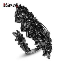 Kinel de lujo Natural viento Irregular anillo de circonio CZ para las mujeres saliendo de la joyería Vintage pistola negro mujer anillos de regalo de Navidad