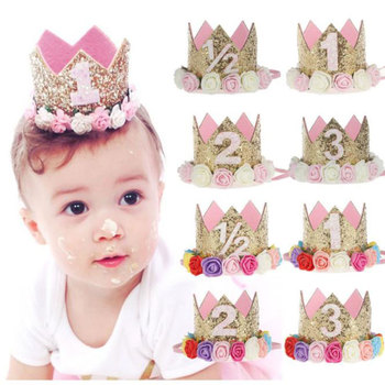 1 2 3 Years Old Birthday Hat Baby Shower Decorative Headband Children's Party Crown Hat Blue Gold Birthday Crown Party Hats image