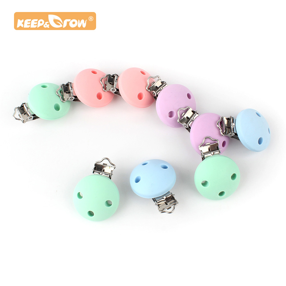 Keep&Grow 20pcs Round Silicone Teether Metal Clip Pacifier Silicone Rodent DIY Baby Teething Necklace Pendant Clamp