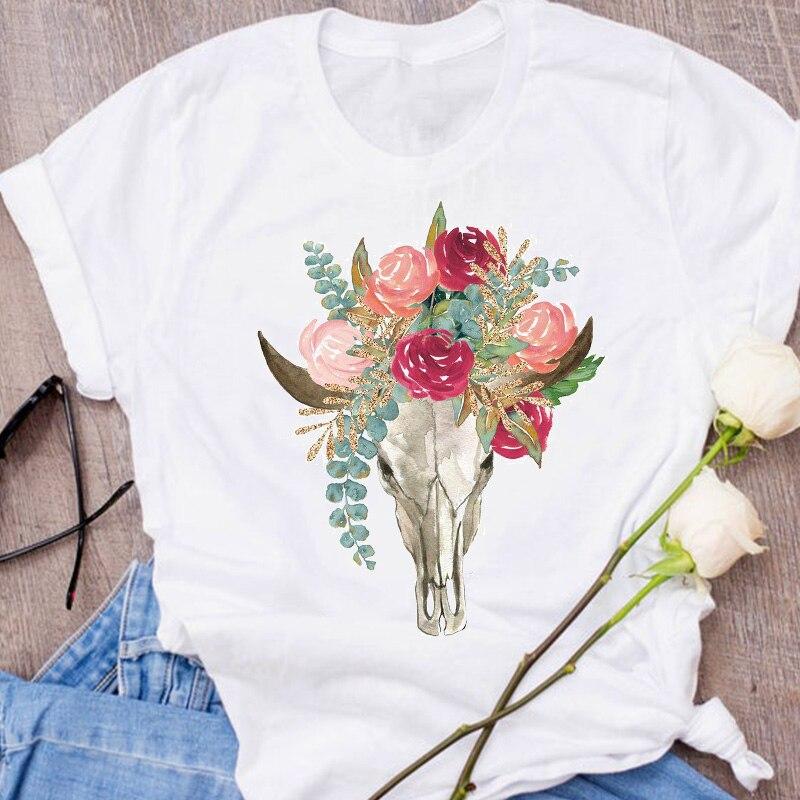 Women Graphic Fox Animal Cartoon Printing 90s Cute Short Sleeve 90s Print Clothes Lady Tees Tops Female T Shirt  Womens T-Shirt 24