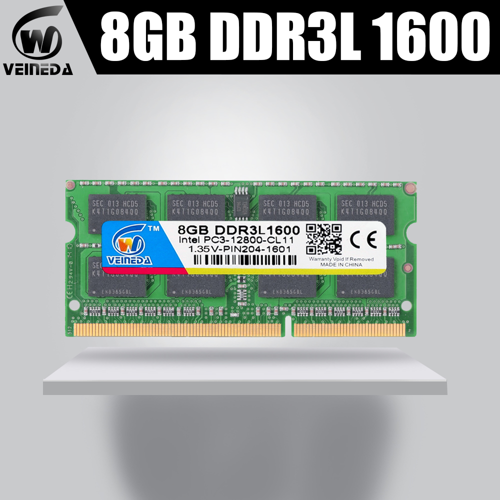VEINEDA 8 gb ddr3l bilgisayar dizüstü DDR3L DDR3 4GB 1600MHz PC3-12800 1.35V SO-DIMM olmayan ECC