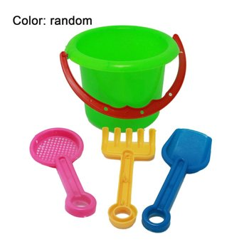 4pcs Novelty Mini Beach Toys Set Sand Pails Bucket with Shovel Rake Summer Pool Beach Sand Play Toys Gift for Children Kids image