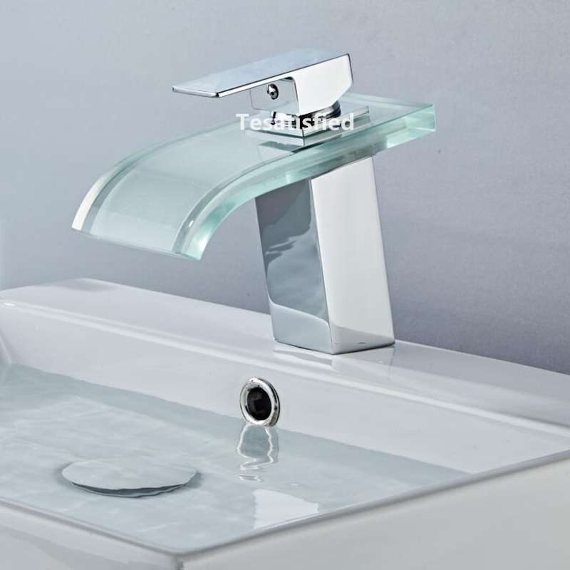 H9ec1abc4990149c8a4f07b9d919bad38e LED Basin Faucet Brass Waterfall Temperature Colors Change Bathroom Mixer Tap Deck Mounted Wash Sink Glass Taps Hot And Cold Tap