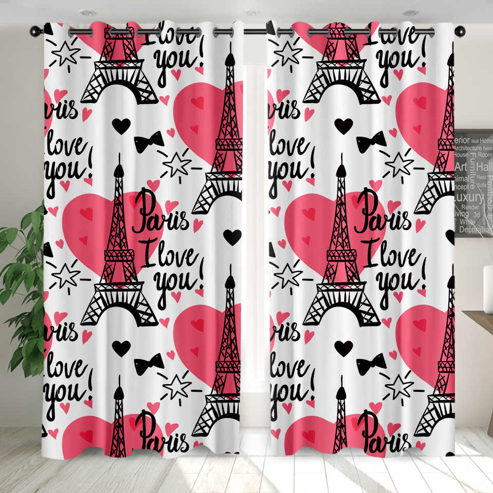 Onglyp Living Room Curtains Eiffel Tower Fashion Blackout Window Drapes Bedroom Curtains For Adult Kids Home Decor 2 Piece Set Aliexpress