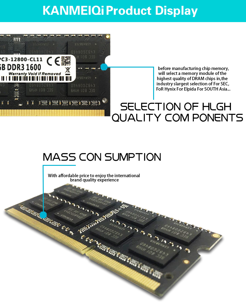 KANMEIQi DDR3 Laptop Memory With 2GB 4GB 8GB And 1333Mhz 1600MHZ 1866MHZ 12