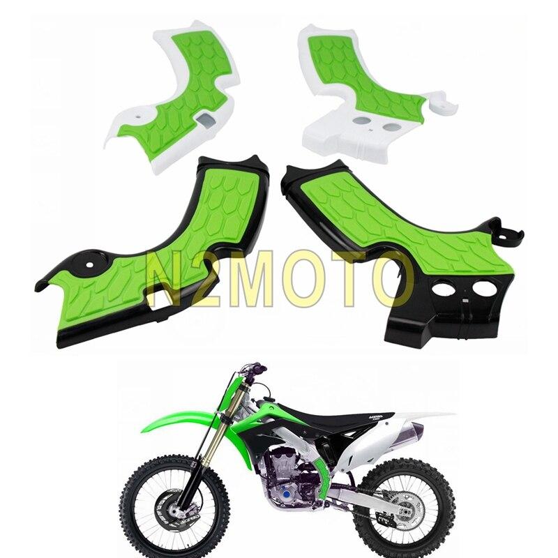 Protecteur de cadre pour moto vert | 1 paire, cross X poignées, protection pour cadre, Kawasaki KX250 2019 KXF250 KX250F 2015-2018 Dirt Bike