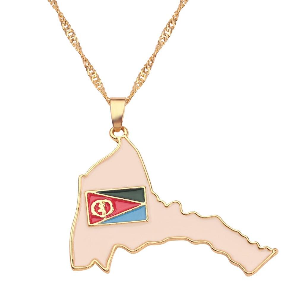 Новая карта страны, флаг, ожерелье, Африка, Гана, Liberia Undersea, Jamaica, Южная Африка, Congo, Honduras, подвеска, цепь, мужские ювелирные изделия - Окраска металла: Eritrea