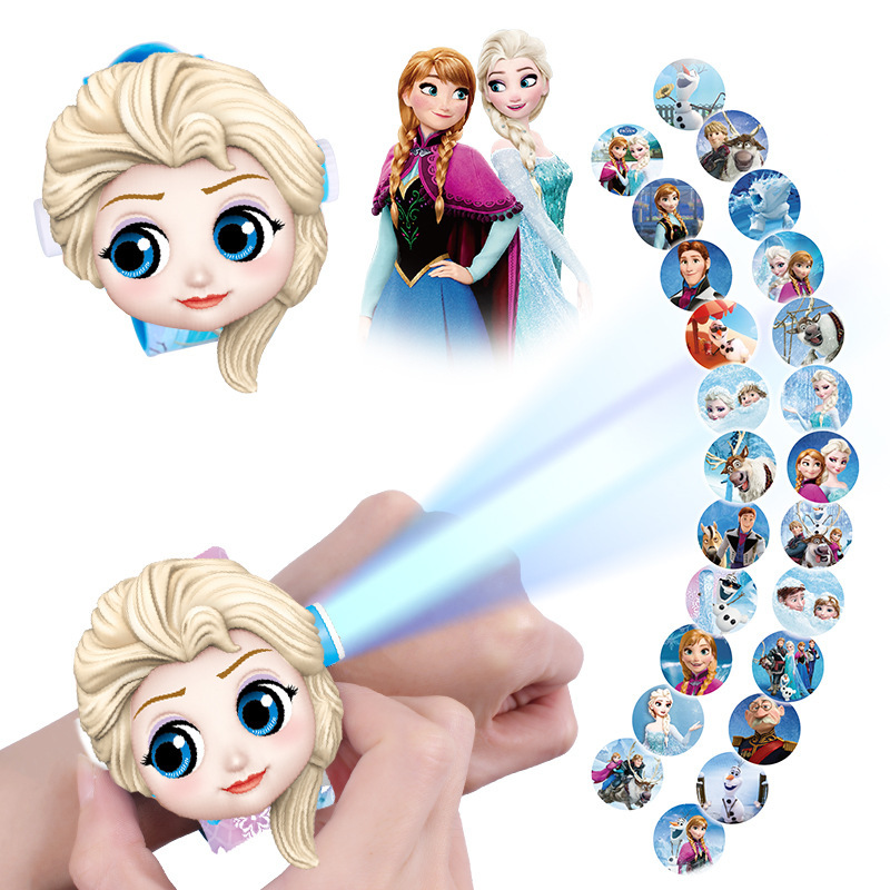 Frozen 2 Projection Watch Disney Princess Elsa Projection Watch Children's Cartoon Toy Mickey Mouse Mickey Minnie Watch