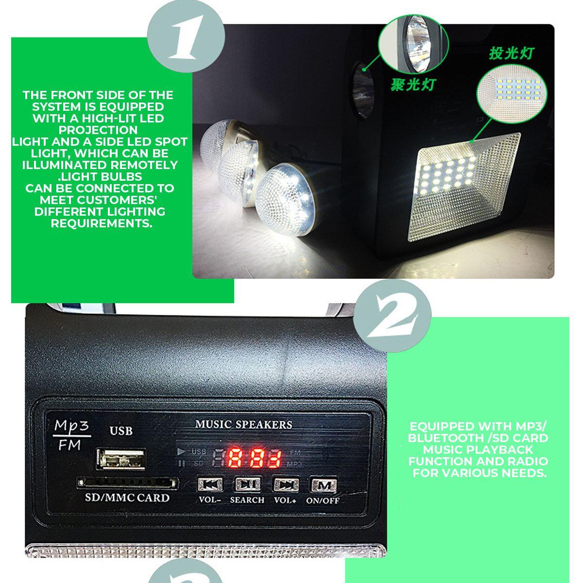 solar painel gerador kit fm alto-falante bluetooth