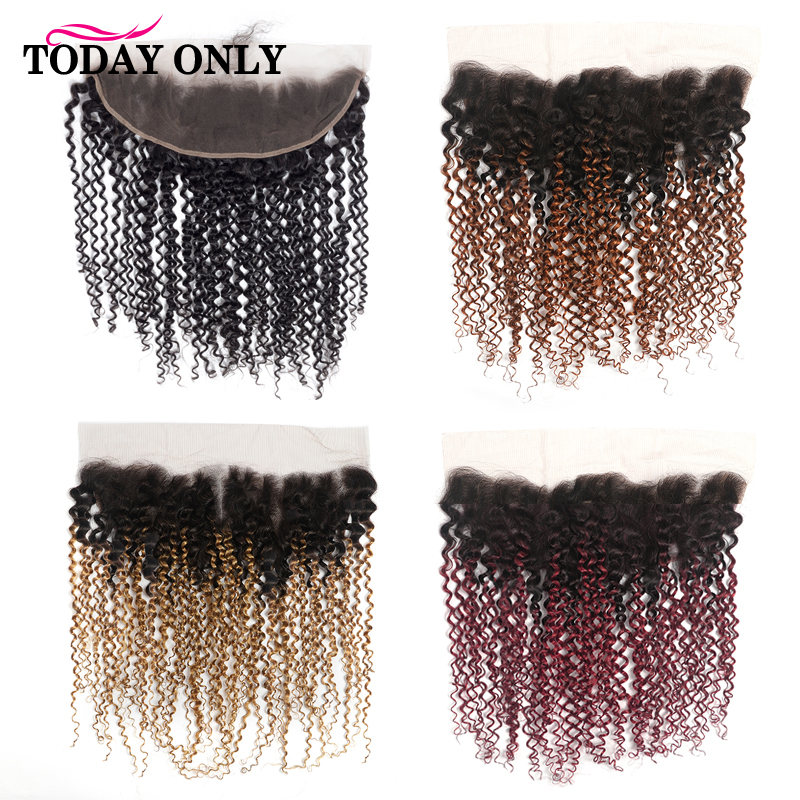TODAY ONLY Brazilian Kinky Curly Human Hair Lace Frontal 13X4 With Baby Hair Natural Hairline Ombre Remy Hair Free Shipping