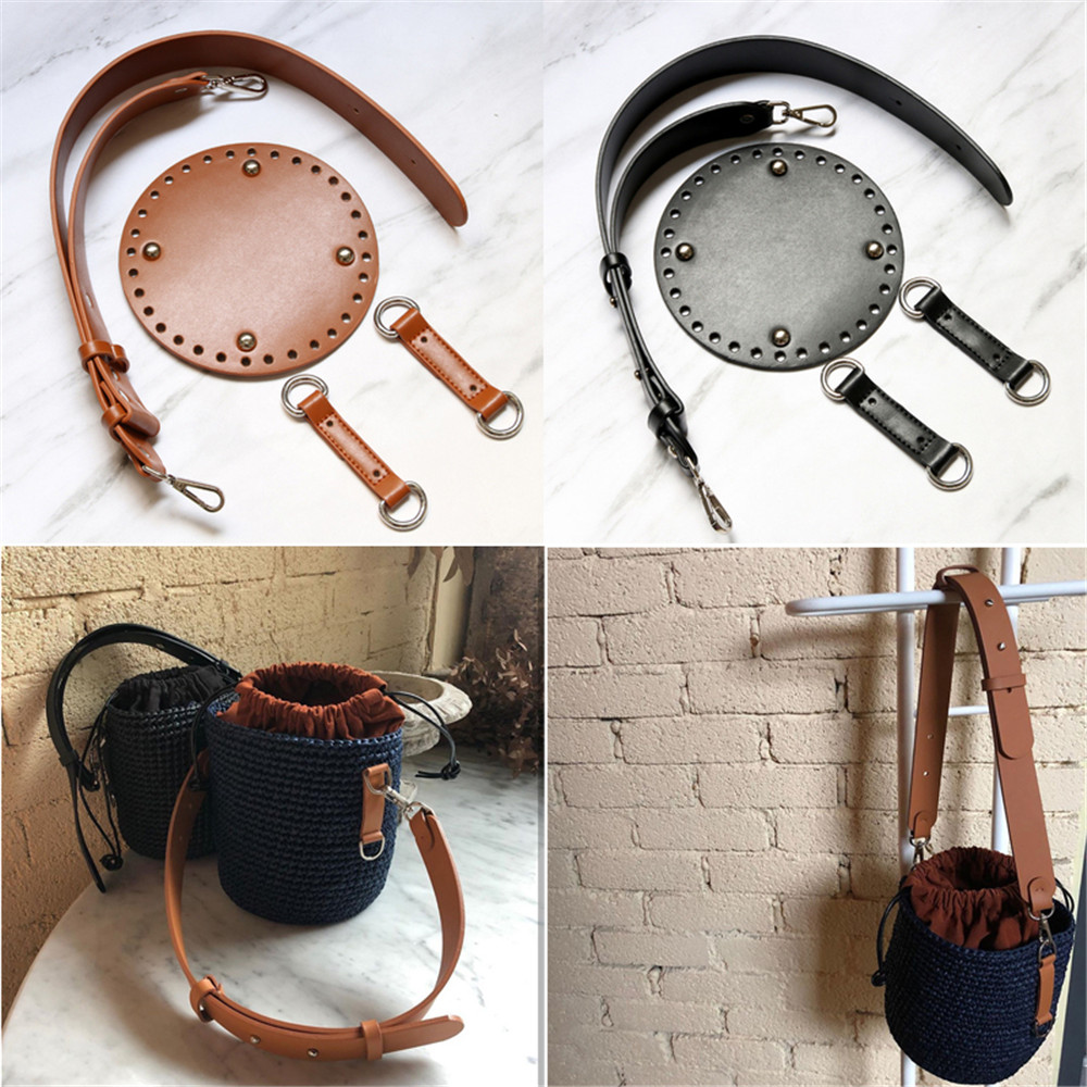 Leather Bag Bottom Wide Shoulder Strap Woven Bag Set Handmade Handbag Accessories For DIY Bag Backpack Woven Bucket Bag