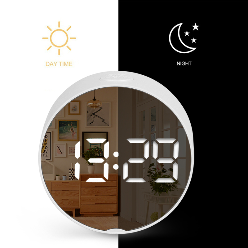 Round Digital Mirror Alarm Clock with LED Used as Night Light With Snooze Function and Temperature Display Electronic Useful for Home Decor 5