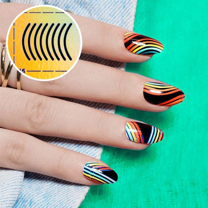 Nail Art Style Sheets DIY Fashion Women Cutout Nails Vinyl Nail Art Manicure Mold Sticker Stamp Template Applique Tool