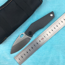LEMIFSHE SJ75 small tank folding knife D2 blade TC4 titanium alloy + G10. carbon fiber handle outdoor camping fruit EDC