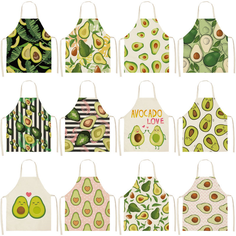 1PCS  Cotton Linen Apron Avocado Printed Kitchen Women Baking Waist Bib Home Cooking Brief Sleeveless Pinafore 53*65cm WQL0145