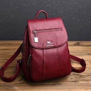 Image 5 - 3 in 1 Vintage sırt çantası kadın yüksek kapasiteli deri omuz çantaları büyük kapasiteli seyahat sırt çantası genç kızlar için okul çantaları