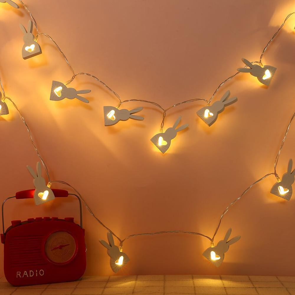1/2m Easter Rabbit Wooden Led Battery String Lights For Easter Party Home Hanging Decoration Accessories Kids Favor Gifts Easter