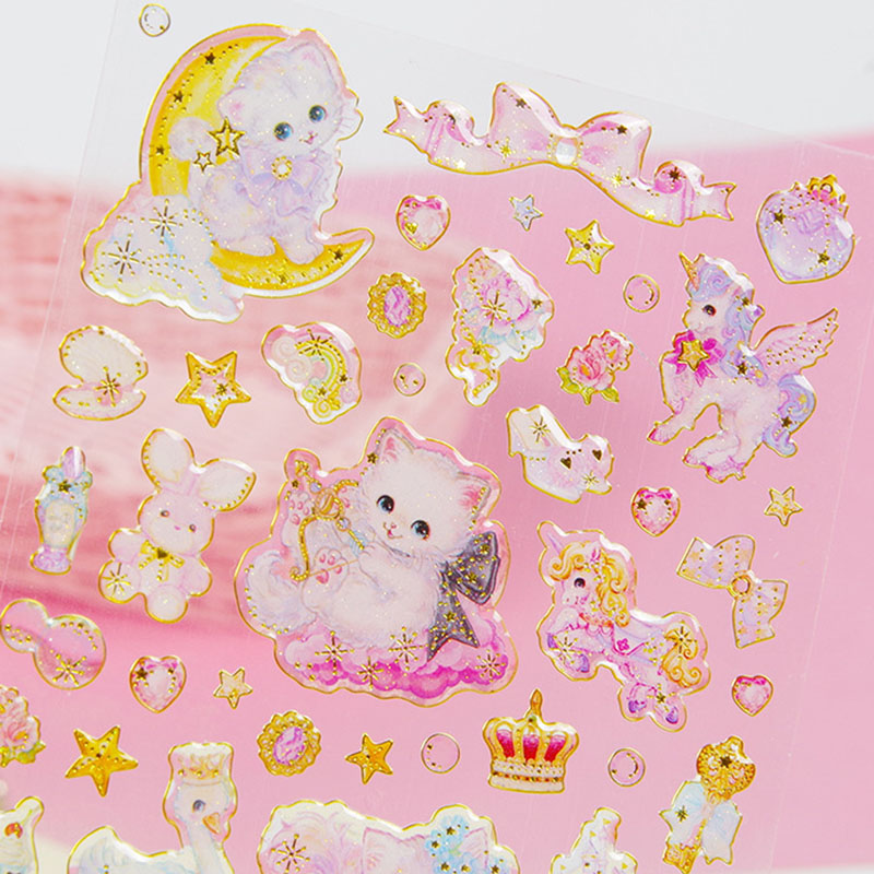 Kawaii Cat Stickers Cute Crystal Stickers Acrylic Decoration Stickers For Kids DIY Diary Scrapbooking Stationery