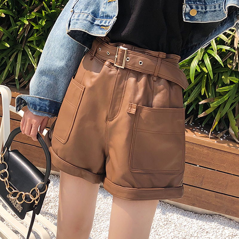 Spring Woman Harajuku Genuine Leather Trousers Female High Waisted Shorts For Women Elastic Waist Casual Wide Leg Punk Hotpants