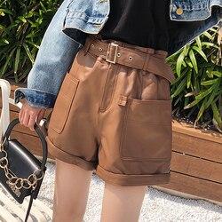 Spring Woman Harajuku Genuine Leather Trousers Female High Waisted Shorts For Women Elastic Waist Casual Wide Leg Punk Hotpants