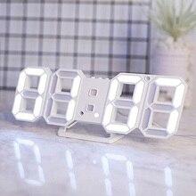 Современные цифровые 3D светодиодный настенные часы Будильник Повтор часы с 12/24 часовым дисплеем E2S