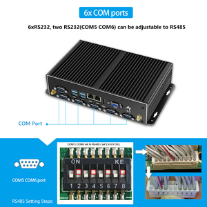 Image 4 - Mini PC Fanless Mini PC Dual LAN 6 * COM Core i7 5500U i5 4200U Celeron J1900 2955U Mini Computer PC Industriale finestre HDMI 8USB 6 * RS232