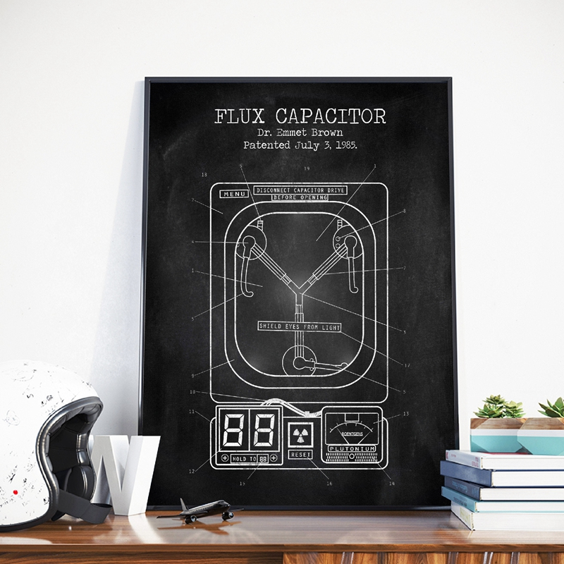 Flux Capacitor Patent Vintage Posters And Prints Wall Pictures Back To The Future Blueprint Movie Artwork Art Canvas Painting