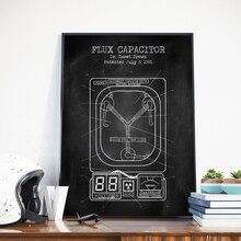 Condensador de flujo patente Vintage carteles e impresiones imágenes de pared volver al futuro plano película arte lienzo pintura