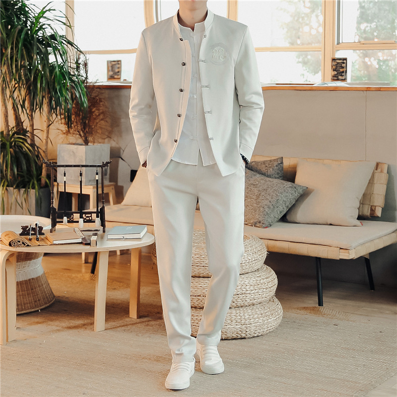 Chinese Style Embroidery Blessing Hanfu Blouse Wu Tang Suit Men Kung Fu Two-piece Suit Tops Jackets Cheongsam New Year Coats