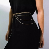 PuRui-Cinturón de cintura multicapa para mujer, de aleación de Metal, dorado, para el vientre, para vestido, joyería