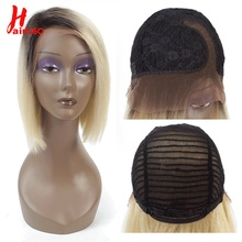 Short Lace Right Part Human Hair Wigs Ombre Blonde 613 Human Hair Lace Part Wig Brazilian Hair Bob Wig For Black Women цена