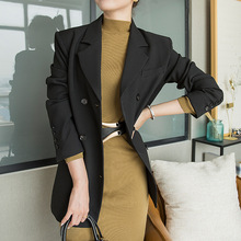 Korean Simple Loose Suit Double-row Button Slim Turned-collar Handsome Suit Female Autumn and Winter New Product