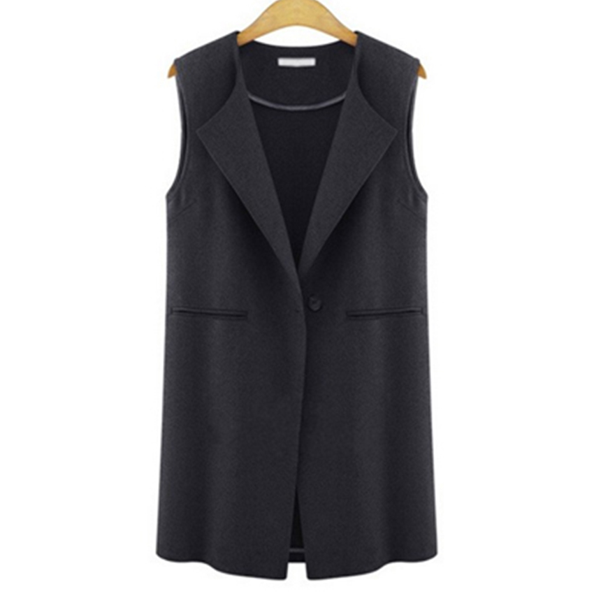 Sleeveless Vest Women Black Gray Autumn Winter Long Joker Coats Vests Solid Luxury Turn-Down Collar Casual Plus Size 5XL Female