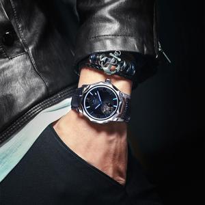 Image 4 - Winner Blue Ocean Geometry Design Transparent Skeleton Dial Mens Watch Top Brand Luxury Automatic Fashion Mechanical Watch Clock