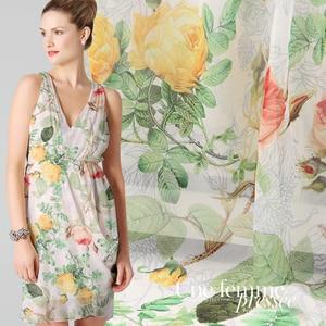 Цифровая печать 12 м натурального шелка жоржет платье Шелковый шарф блузка ткань