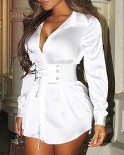 2020 женские элегантные белые мини платья с длинным рукавом