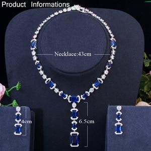 Image 5 - CWWZircons Luxury Long Dangle Drop Dark Blue Cubic Zirconia Women Party Earrings Necklace Bridal Wedding Jewelry Sets T356