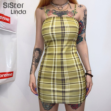 Sisterlinda Harajuku Summer Women Fashion Sexy Off Shoulder Bodycon Mini Dress Strap Casual Sleeveless Skinny New Vestidos Mujer