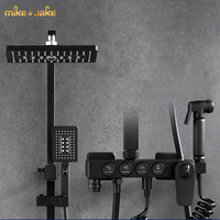 Luxury thermostatic black shower set rainfall shower constant bathtub square shower mixer set Bath Shower hot and cold Faucet